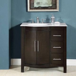 Silkroad Exclusive 36-inch Single Sink Carrara White Marble Stone Top Bathroom Vanity