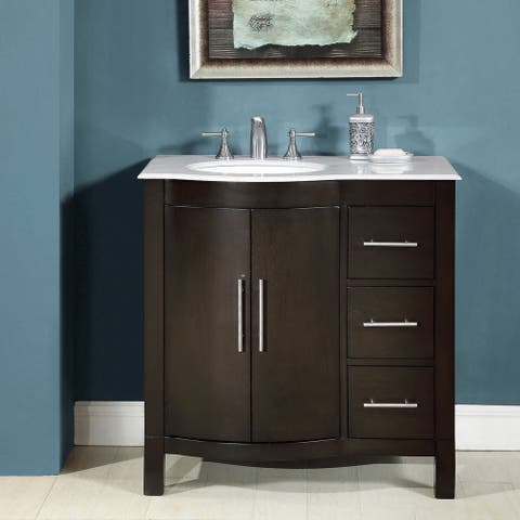 Silkroad Exclusive 36-inch Single Sink Carrara White Marble Stone Top Bathroom Vanity