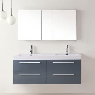 Virtu USA Finley 54-inch Grey Double Sink Bathroom Vanity