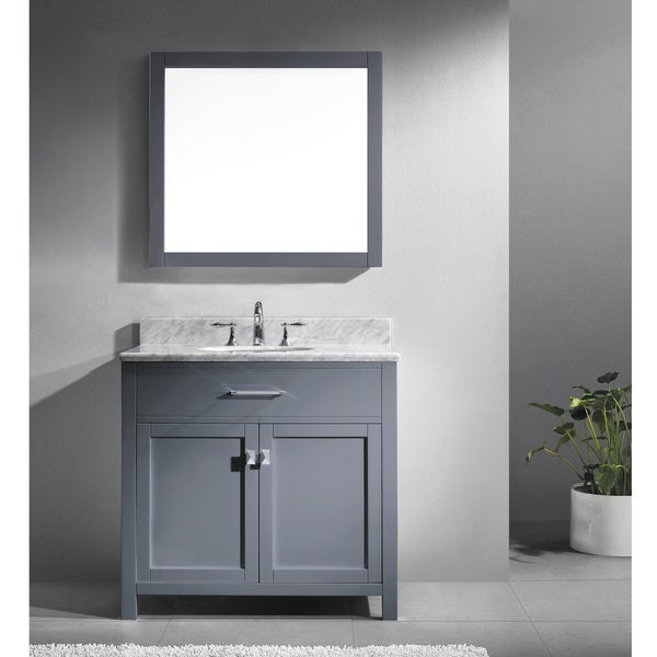 Virtu usa caroline 36 inch single grey bathroom vanity for Virtu usa caroline 36 inch single sink bathroom vanity set