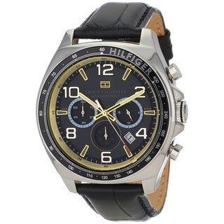 Tommy Hilfiger Men's 1790936 Chronograph Black Leather Watch