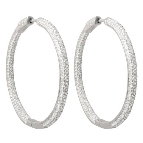 Luxiro Sterling Silver Pave Cubic Zirconia 45mm Hoop Earrings