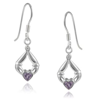 Journee Collection Sterling Silver Amethyst Celtic Earrings