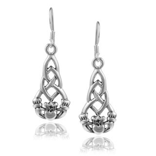 Journee Collection Sterling Silver Celtic Claddagh Dangle Earrings