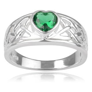 Journee Collection Sterling Silver Cubic Zirconia Celtic Heart Ring