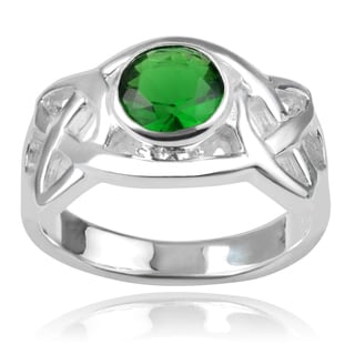 Journee Collection Sterling Silver Green Cubic Zirconia Celtic Ring