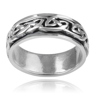 Vance Co. Sterling Silver Men's Celtic Knot 8mm Spinner Band
