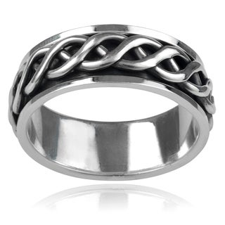Vance Co. Sterling Silver Men's Celtic Knot 8mm Braided Spinner Band