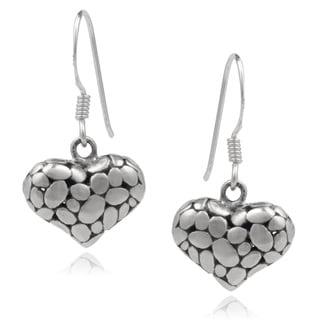Journee Collection Sterling Silver Dangle Heart Earrings