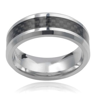 Vance Co. Men's Cobalt Carbon Fiber Inlay 8mm Band
