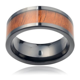 Vance Co. Ceramic 8mm Band Hawaiian Koa Inlay Men's Ring