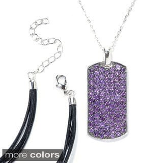 Sterling Silver Pave Gemstone Necklace with Chain and Cord