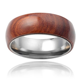 Vance Co. Men's Titanium Hawaiian Koa Wood Inlay Band (8mm)