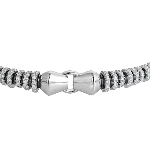 White Gold Finish Micropave CZ Womens Fancy Bracelet
