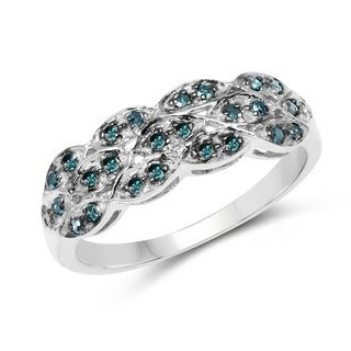 Malaika Sterling Silver 1/3ct TDW Blue Diamond Ring