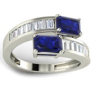 18k White Gold Emerald-cut Blue Sapphire 1/2ct TDW Diamond Ring (G-H, VS1-VS2) (Size 6.5)