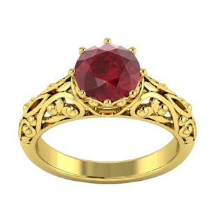 14k Yellow Gold 2ct TGW Red Ruby Ring