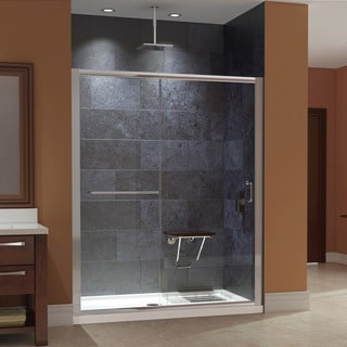 DreamLine Infinity-Z 56 to 60 in. W Shower Door, Clear Glass, with SlimLine Shower Base 36 in. D x 60 in. W and Teak Seat
