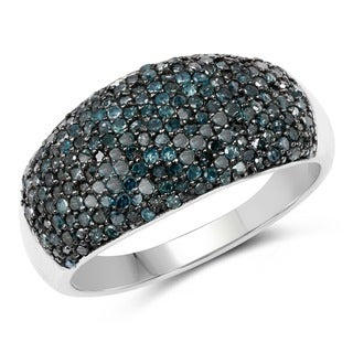 Malaika Sterling Silver 1ct TDW Blue Diamond Ring