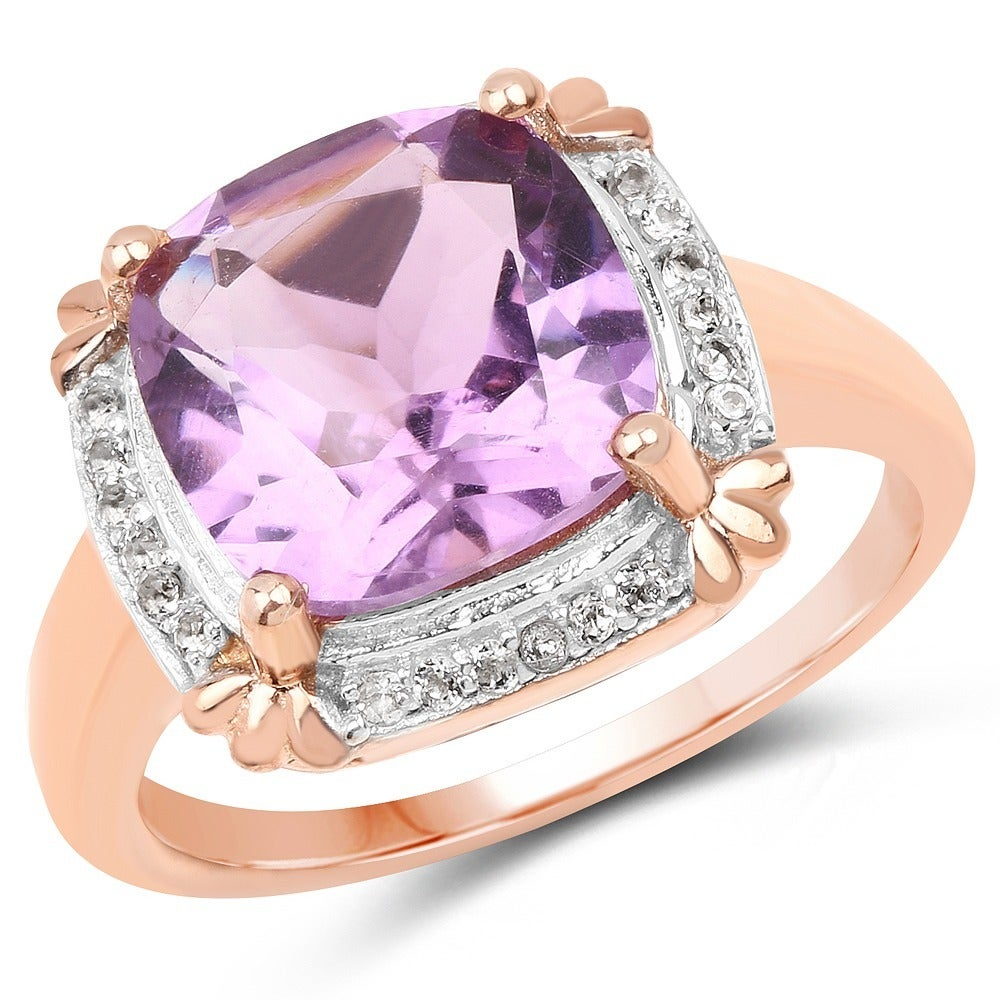 Malaika 14K Rose Gold Plated 3.67 Carat Amethyst and Whit...