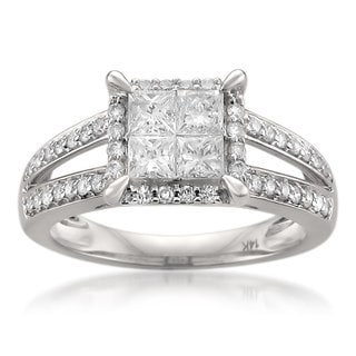 Montebello 14k White Gold 1 1/6ct TDW Princess-cut Diamond Ring
