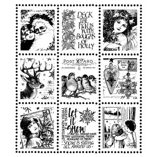 """Crafty Individuals Unmounted Rubber Stamp 4.75""""X7"""" Pkg-Christmas Postage Stamps"""