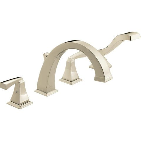 Delta Dryden Deck Mounted Roman Tub Faucet Trim with Lever Handles Brilliance Polished Nickel