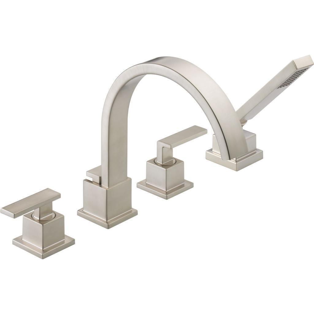 Delta Vero Roman Tub Faucet Trim With Hand Shower Stainless