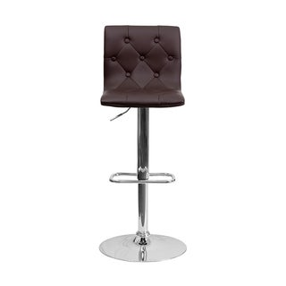 Offex Contemporary Tufted Brown Vinyl Bar Stool