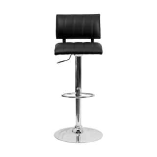 Offex Contemporary Black/ White Vinyl Bar Stool