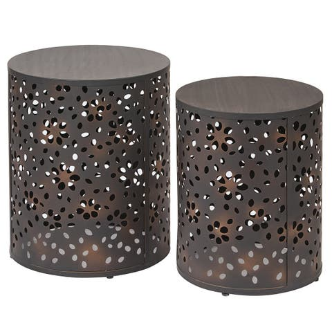 OSP Home Furnishings 2-piece Round Metal Accent Tables