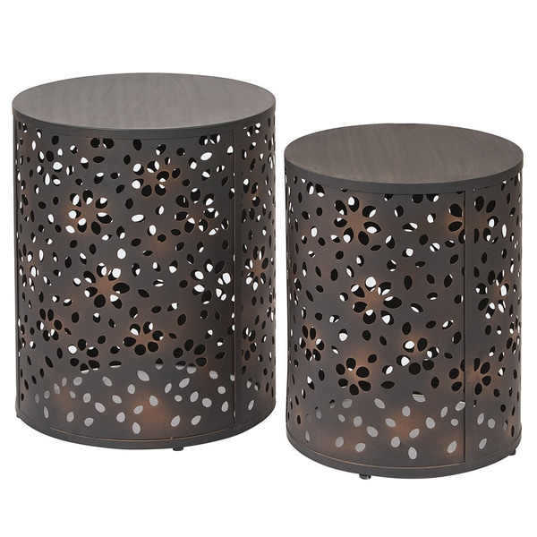 Office Star Products Antique Bronze Metal 2 Piece Round Accent Table Set