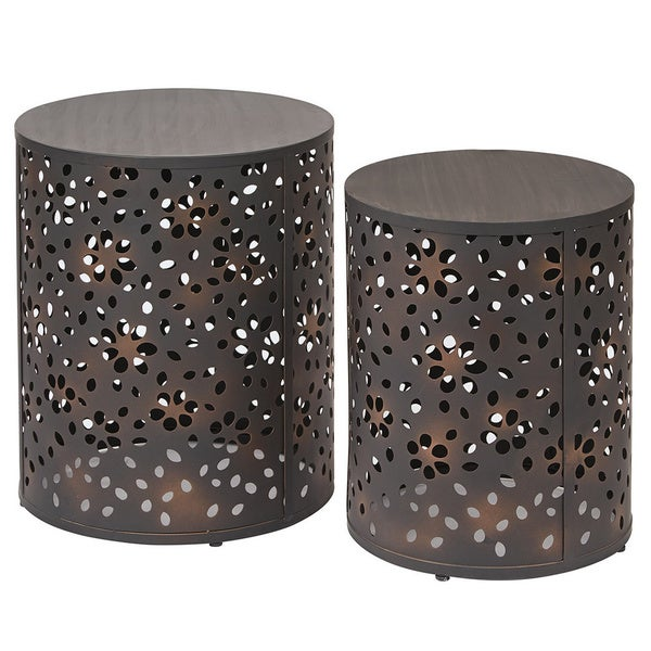 Office Star Products 2 Piece Round Metal Accent Tables