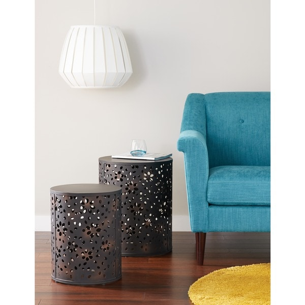 Office Star Products 2 Piece Round Metal Accent Tables   Free Shipping  Today   Overstock.com   16978835