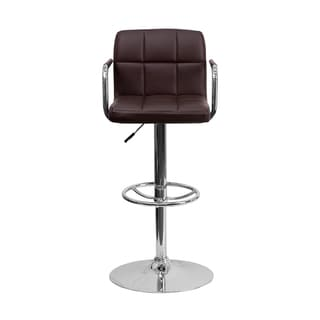 Offex Contemporary Brown Quilted Vinyl Stool