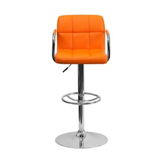 Offex Contemporary Orange Quilted Vinyl Bar Stool