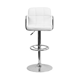 Offex Contemporary White Quilted Vinyl Bar Stool