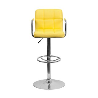 Offex Contemporary Yellow Quilted Vinyl Bar Stool