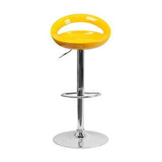 Offex Contemporary Yellow Plastic Adjustable Bar Stool with Chrome Base