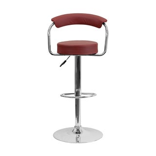 Offex Contemporary Burgundy Vinyl Adjustable Height Bar Stool With Arms And Chrome Base