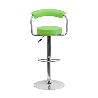 Offex Green Vinyl Bar Stool with Chrome Arms