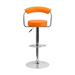 Offex Orange Vinyl Bar Stool with Chrome Arms