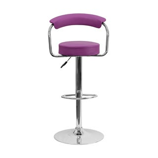 Offex Purple Vinyl Bar Stool with Chrome Arms