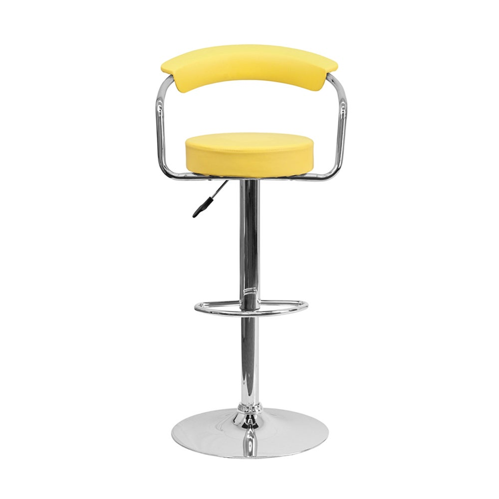 Offex Yellow Vinyl Bar Stool with Chrome Arms (Yellow Vin...