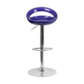 Offex Contemporary Blue Plastic Adjustable Bar Stool with Chrome Base