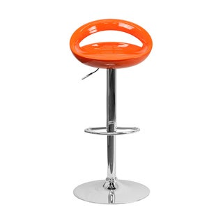 Offex Contemporary Orange Plastic Adjustable Bar Stool with Chrome Base