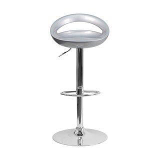 Offex Contemporary Silver Plastic Adjustable Bar Stool with Chrome Base