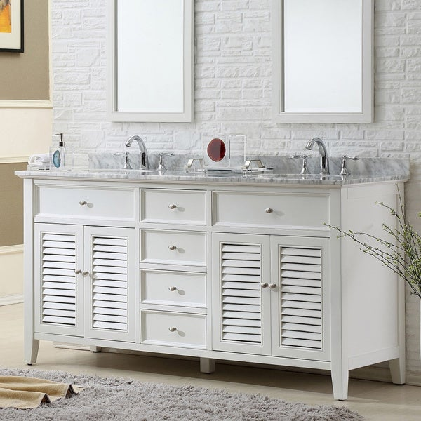 Direct Vanity Sink 70 Inch Pearl White Shutter Double Vanity Sink Cabinet Free Shipping Today