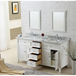 Direct Vanity Sink 70 Pearl White Shutter Double Vanity Sink Cabinet (More options available)