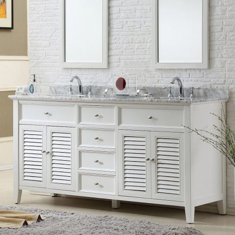 Direct Vanity Sink 70 Pearl White Shutter Double Vanity Sink Cabinet